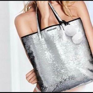 New Victoria's Secret Silver Sequined Pom Pom Tote